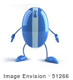 #51266 Royalty-Free (Rf) Illustration Of A 3d Wireless Blue Computer Mouse Mascot Standing And Facing Front - Version 1
