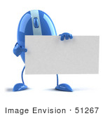 #51267 Royalty-Free (Rf) Illustration Of A 3d Wireless Blue Computer Mouse Mascot Holding A Blank Business Card - Version 2