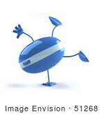 #51268 Royalty-Free (Rf) Illustration Of A 3d Wireless Computer Mouse Mascot Doing A Hand Stand - Version 1