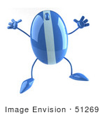#51269 Royalty-Free (Rf) Illustration Of A 3d Wireless Blue Computer Mouse Mascot Jumping - Version 2