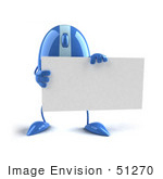 #51270 Royalty-Free (Rf) Illustration Of A 3d Wireless Blue Computer Mouse Mascot Holding A Blank Business Card - Version 1