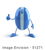 #51271 Royalty-Free (Rf) Illustration Of A 3d Wireless Blue Computer Mouse Mascot Giving The Thumbs Up - Version 1