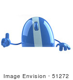 #51272 Royalty-Free (Rf) Illustration Of A 3d Wireless Blue Computer Mouse Mascot Giving The Thumbs Up And Standing Behind A Blank Sign