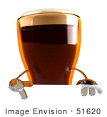 #51620 Royalty-Free (Rf) Illustration Of A 3d Beer Mascot Gesturing A Peace Sign And Standing Behind A Blank Sign