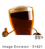 #51621 Royalty-Free (Rf) Illustration Of A 3d Beer Mascot Giving The Thumbs Up And Standing Behind A Blank Sign