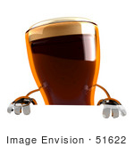 #51622 Royalty-Free (RF) Illustration Of A 3d Beer Mascot Standing Behind A Blank Sign by Julos