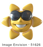 #51626 Royalty-Free (Rf) Illustration Of A 3d Happy Yellow Sun Smiling And Wearing Shades - Version 1