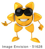 #51628 Royalty-Free (Rf) Illustration Of A 3d Happy Yellow Sun Gesturing And Wearing Shades
