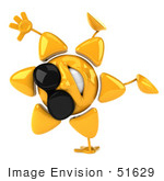 #51629 Royalty-Free (Rf) Illustration Of A 3d Happy Yellow Sun Doing A Handstand