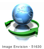 #51630 Royalty-Free (Rf) Illustration Of 3d Green Arrows Circling A Blue Globe Featuring Europe And Africa