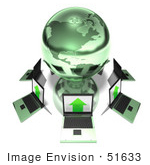 #51633 Royalty-Free (Rf) Illustration Of 3d Laptops Circling A Green Globe