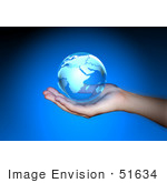 #51634 Royalty-Free (Rf) Illustration Of A Photographed Human Hand Holding A Transparent Globe
