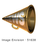 #51638 Royalty-Free (Rf) Illustration Of A 3d Gold News Megaphone - Version 1