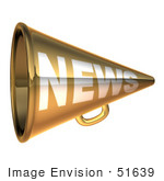 #51639 Royalty-Free (Rf) Illustration Of A 3d Gold News Megaphone - Version 3
