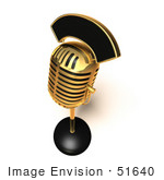 #51640 Royalty-Free (Rf) Illustration Of A 3d Retro Golden Microphone On A Counter - Version 6