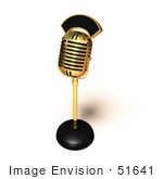 #51641 Royalty-Free (Rf) Illustration Of A 3d Retro Golden Microphone On A Counter - Version 3