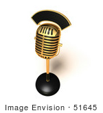 #51645 Royalty-Free (Rf) Illustration Of A 3d Retro Golden Microphone On A Counter - Version 4