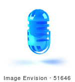 #51646 Royalty-Free (Rf) Illustration Of A 3d Blue Floating Microphone - Version 6
