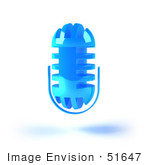 #51647 Royalty-Free (Rf) Illustration Of A 3d Blue Floating Microphone - Version 5