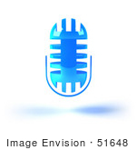 #51648 Royalty-Free (Rf) Illustration Of A 3d Blue Floating Microphone - Version 4