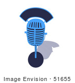 #51655 Royalty-Free (Rf) Illustration Of A 3d Blue Retro Style Microphone Resting On A Surface - Version 3