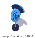 #51656 Royalty-Free (Rf) Illustration Of A 3d Blue Retro Style Microphone Resting On A Surface - Version 2