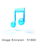 #51660 Royalty-Free (Rf) Illustration Of A Neon Blue 3d Music Note - Version 4