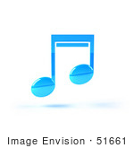 #51661 Royalty-Free (Rf) Illustration Of A Neon Blue 3d Music Note - Version 3