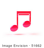 #51662 Royalty-Free (Rf) Illustration Of A Neon Pink 3d Music Note - Version 1