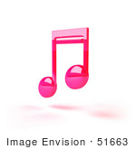#51663 Royalty-Free (Rf) Illustration Of A Neon Pink 3d Music Note - Version 1