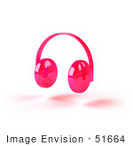 #51664 Royalty-Free (Rf) Illustration Of Pink 3d Wireless Headphones - Version 2