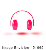 #51665 Royalty-Free (Rf) Illustration Of Pink 3d Wireless Headphones - Version 1
