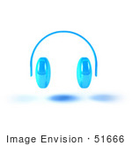#51666 Royalty-Free (Rf) Illustration Of Blue 3d Wireless Headphones - Version 3