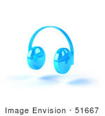 #51667 Royalty-Free (Rf) Illustration Of Blue 3d Wireless Headphones - Version 4