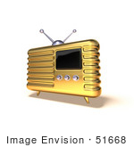#51668 Royalty-Free (Rf) Illustration Of A 3d Golden Retro Style Metal Radio - Version 6