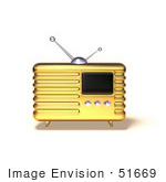 #51669 Royalty-Free (Rf) Illustration Of A 3d Golden Retro Style Metal Radio - Version 5