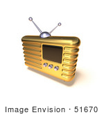 #51670 Royalty-Free (Rf) Illustration Of A 3d Golden Retro Style Metal Radio - Version 8
