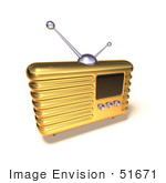 #51671 Royalty-Free (Rf) Illustration Of A 3d Golden Retro Style Metal Radio - Version 7