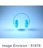 #51678 Royalty-Free (Rf) Illustration Of Neon Blue 3d Headphones - Version 1