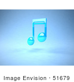 #51679 Royalty-Free (Rf) Illustration Of A Neon Blue 3d Music Note - Version 2