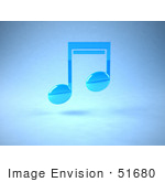 #51680 Royalty-Free (Rf) Illustration Of A Neon Blue 3d Music Note - Version 1