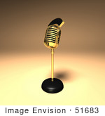 #51683 Royalty-Free (Rf) Illustration Of A 3d Gold Retro Microphone On A Counter - Version 8