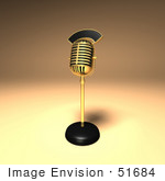 #51684 Royalty-Free (Rf) Illustration Of A 3d Gold Retro Microphone On A Counter - Version 7