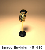 #51685 Royalty-Free (Rf) Illustration Of A 3d Gold Retro Microphone On A Counter - Version 9