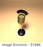 #51686 Royalty-Free (Rf) Illustration Of A 3d Gold Retro Microphone On A Counter - Version 10