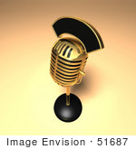 #51687 Royalty-Free (Rf) Illustration Of A 3d Gold Retro Microphone On A Counter - Version 12
