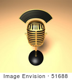 #51688 Royalty-Free (Rf) Illustration Of A 3d Gold Retro Microphone On A Counter - Version 11
