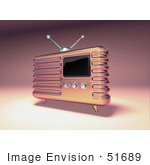 #51689 Royalty-Free (Rf) Illustration Of A 3d Pink Retro Radio - Version 2