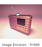 #51690 Royalty-Free (Rf) Illustration Of A 3d Pink Retro Radio - Version 4