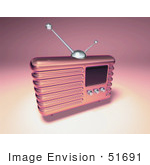 #51691 Royalty-Free (Rf) Illustration Of A 3d Pink Retro Radio - Version 3